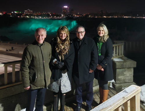 Minister Richard Bruton switches on the green lights at Niagara Falls